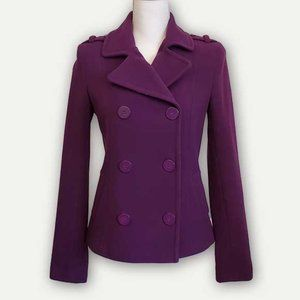 H&M Purple Double Breasted Cropped Jacket-EUC